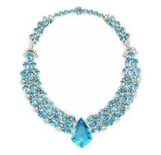 An Art Deco Aquamarine and Diamond Necklace, by Cartier, circa 1938