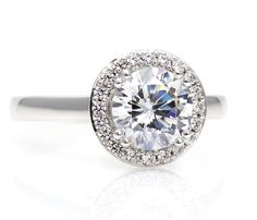 #2 Platinum Moissanite Engagement Ring Diamond Halo by RareEarth, $2454.00