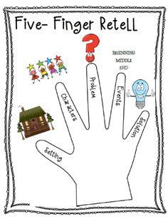 Five-Finger Retell Poster + Worksheet Retelling Activities, Sequencing Worksheets, 2nd Grade Activities, Comprehension Activities, Reading Strategies, Reading Activities, Reading Skills, Reading Comprehension, Reading Groups