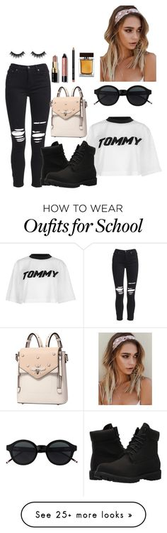 """""""school day 3 tom boy"""" by diamondinthesky13 on Polyvore featuring Tommy Hilfiger, AMIRI, Timberland, Dolce&Gabbana, Bobbi Brown Cosmetics and Morphe"""