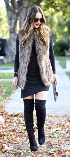 Mid-Length Brown Faux Fur Vest with Black long sleeve dress and knee high boots