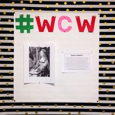 #wcw gets a new spin for history class! The bulletin board displays powerful women throughout history! #socialstudies #education #newteacher