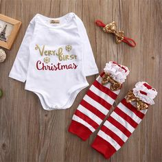 4720cf511 3PCS Christmas Baby Set Newborn Infant Baby Girl Rompers+Stripe Leg Warmers  Sequined Headwear Outfits Xmas Clothes Sets #ChristmasOutfit