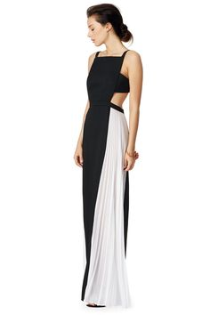 Black and white contrast gown with cut outs // Square Space Gown by BCBGMaxazria Apron Dress, I Dress, Dress Outfits, Fashion Outfits, Dinner Gowns, Evening Dresses, Short Dresses, Prom Dresses, Formal Dresses