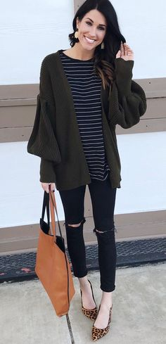 #winter #outfits black and white striped crew-neck shirt with cardigan and black distressed jeans