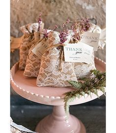 Burlap and lace favor bags for a rustic or vintage wedding.