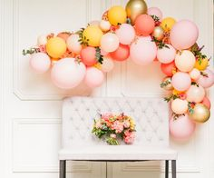 The prettiest backdrops for your wedding or event includes balloons and flowers–so soft & sweet! Flower backdrops have been all the rage, but sneakin… - Decoration For Home Bridal Shower Balloons, Wedding Balloons, Bridal Shower Decorations, Wedding Decorations, Party Kulissen, Donut Party, Party Ideas, Donut Birthday Parties, Birthday Ideas