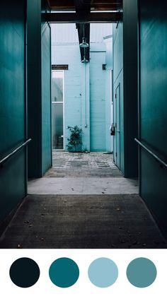 Cool Corridors Color Palette | Emma Englishby | Fossil grey, cornflower blue and Bondi blue color palette.