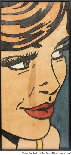 Inspired by American pop art legend Roy Lichtenstein, Texas-based artist Mitch McGee layers birch wood to create pop art in another medium.