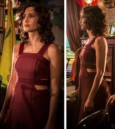 Montagem com imagens da novela Maria tereza com look vermelho