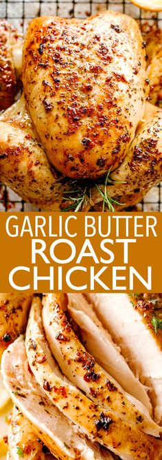 dinner recipes for family main dishes GARLIC BUTTER ROAST CHICKEN! Simple Roast Chicken flavored with garlic, butter and herbs, then oven roasted to a golden, crispy, Whole Chicken In Oven, Baked Whole Chicken Recipes, Roast Chicken Flavours, Best Roasted Chicken, Easy Roast Chicken, Easy Chicken Dinner Recipes, Roast Chicken Recipes, Stuffed Whole Chicken, Keto Chicken