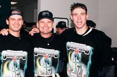 #MarinersHOF Moment: '97 AL West Champs. Dan Wilson with Rich Amaral and John McLaren. #Mariners