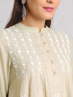 Beige-White Chikankari Handloom Khadi Kurta by Jaypore Kurti Embroidery Design, Embroidery Neck Designs, Embroidery Suits, Neckline Designs, Dress Neck Designs, Blouse Designs, Stylish Dresses, Fashion Dresses, Khadi Kurta