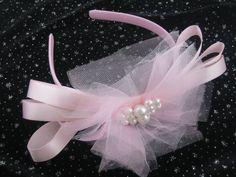 Handmade Toddler Children Headband Pink Tulle by AnjusCreations