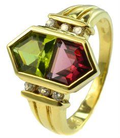 Vintage 18ct Gold Tourmaline Peridot & Diamonds Ring
