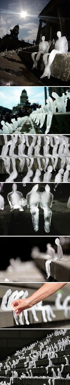 Azevedo- Melting Men. Little ice sculptures of people set outside on a hot day. Melts my heart!