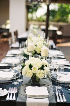 Classic White Wedding at Bacara Resort Read more… All White Wedding, Mod Wedding, Wedding Reception, Wedding Dinner, Reception Ideas, Chic Wedding, Dream Wedding, Clear Glass Plates, Monochrome Weddings