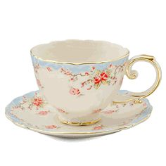 Vintage rose cup and saucer