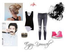 """Date with Chanyeol"" by samanthaking-plouff ❤ liked on Polyvore featuring J Brand, Converse, Eloquii and Elizabeth Arden"
