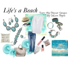 """Life's a Beach"" by delinn-premierdesigns on Polyvore. Find me on Facebook at ""Natalie's Premier Designs jewelry"""