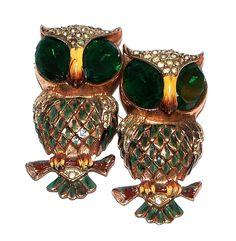 Coro Duette Sterling Vermeil Rhinestone Owl Pin  www.midcenturyjewelry.com