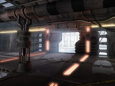 Cyberpunk, Future, Futuristic, Sci-Fi Lab Corridor by on deviantART Sci Fi Environment, Environment Design, Cyberpunk, Science Fiction, Spaceship Interior, Underground Bunker, Futuristic Art, Futuristic Architecture, Shadowrun