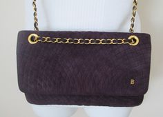 Vintage Bally Purse Quilted Purple Suede Chain Strap Double Flap Shoulder Crossbody Made in Italy - pinned by pin4etsy.com
