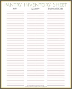 Free PrintableFreezer Inventory Sheet  Freezer Free Printable