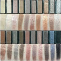 Swatches of the Coastal Scents Revealed palette. Dupe for Urban Decay Naked 1 and Naked 2 palette