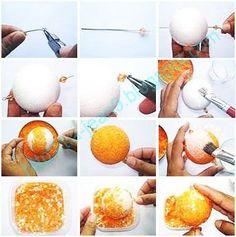 Tome un pedazo de alambre y con pinzas doble uno de los extremos ,2. inserte una cuenta cristal a un extremo y cierre. 3. Inserte el cable en el centro de la bola de unicel. 4. Coloque una cuenta cristal al otro extremo y doblar. 5. agarre la esfera desde el alambre y con un pincel unte pegamento en toda la bola de unicel. 6. sumergirla en un recipiente lleno de perlas o de perforación, dejar secar. 7.engome de nuevo y sumerja en un recipiente de lentejuelas.Presione con las manos para…
