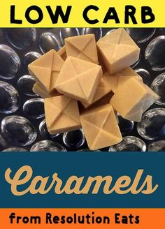 These low carb keto soft caramel candies are a simple grandmotherly treat that you can make yourself at home. And each caramel has less than net carbs. Low Carb Candy, Keto Candy, Sugar Free Recipes, Candy Recipes, Snack Recipes, Low Carb Desserts, Low Carb Recipes, Healthy Desserts, Diabetic Recipes