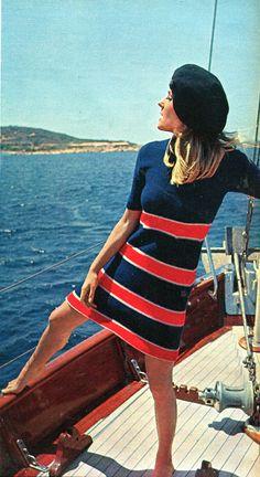 moda - 1967 - vestito cotone alla marinara - lord joe