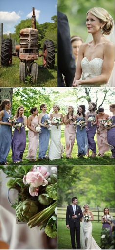 Love the chiffon dresses in various styles and colors for an outdoor wedding!