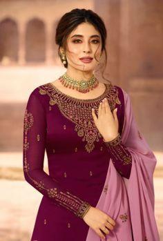 Plum And Pink Designer Lehenga/Pant Suit Dress Indian Style, Indian Dresses, Indian Outfits, Gharara Designs, Kurta Designs Women, Designer Anarkali Dresses, Designer Salwar Suits, Embroidery Neck Designs, Embroidery Suits Design