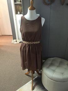 Taupe Dress with Polka Dot Trim