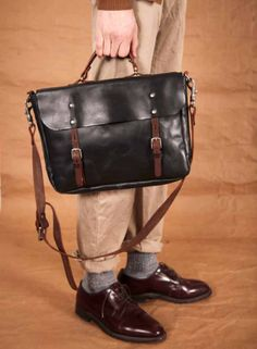 urbanemenswear:    Ally Capellino Italian vegetable tanned leather satchel