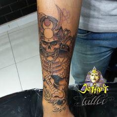 Jeffart Tattoo Studio - Tatuagens exclusivas, personalizadas com o maior profissionalismo.: Tatuagem de samurai com dragão e crânio