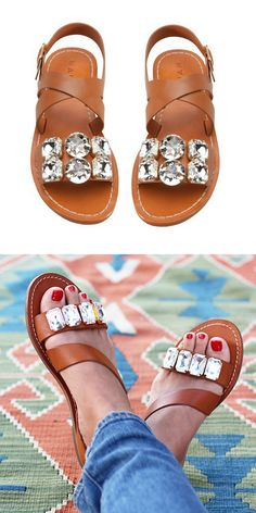 """DIY Easy Knockoff Marni Jeweled Sandals Tutorial from Honestly WTF. For another DIY Marni jeweled sandals tutorial go here.   For more """"stick and glue"""" DIYs go here: truebluemeandyou.tumblr.com/tagged/stick-and-glue and for pages of really good knockoffs go here: truebluemeandyou.tumblr.com/tagged/knockoff"""