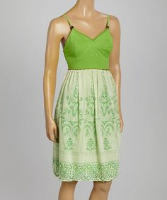 Loving this Green & White Filigree Silk-Blend Dress on #zulily! #zulilyfinds