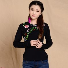 Autumn Spring Tee Shirt Women Casual Slim Cotton T Shirt Large Size 2016 Casual Embroidered Long Sleeve Tops-in T-Shirts from Women's Clothing & Accessories on Aliexpress.com | Alibaba Group