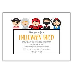 Costume Party Invitation from Brown Paper Studios Halloween Costume Party Invitations, Mary I, Brown Paper, Halloween 2020, Trick Or Treat, Photo Cards, Rsvp, Studios, Kraft Paper