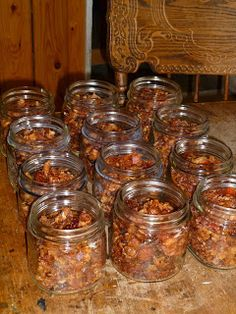 Canning bacon bits