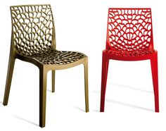 Beaufurn's transparent and solid contoured polypropylene Groovy chair is both comfortable and fun. For outdoor or indoor use, stackable.
