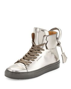 superior quality ee5f8 fc873 125mm Men s Metallic Leather High-Top Sneaker, Gunmetal by Buscemi at  Bergdorf Goodman.