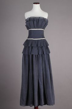 50s VTG Navy Tiered Full Length Strapless Evening Gown w/ Polkadots