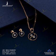 Real Diamond Pendant Set jewellery for Women by jewelegance. ✔ Certified Hallmark Premium Gold Jewellery At Best Price Jewelry Design Earrings, Gold Earrings Designs, Gold Jewellery Design, Real Diamond Earrings, Gold Earrings For Women, Dimonds, Gold Ring Designs, Gold Jewelry Simple, Chains