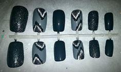 Grey Ikat Fake Nail Set Press on Nails Glue on by NailsBySammi