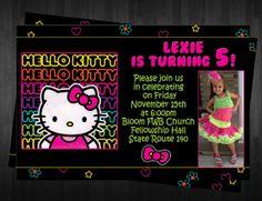 Neon HELLO KITTY Birthday Invitation