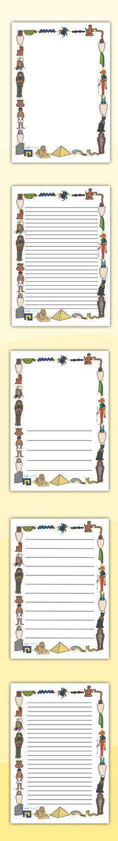 Twinkl Resources >> Ancient Egyptian Page Borders >> Printable resources for Primary, EYFS, KS1 and SEN.  Thousands of classroom displays and teaching aids! Topics, History, Ancient History, Egyptians, Page Borders, Writing