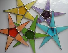 Name Your Star- personalized stained glass star, choose your color, engrave a name, 9 inch star Stained Glass Designs, Stained Glass Projects, Stained Glass Patterns, Stained Glass Christmas, Glass Christmas Tree, Tiffany, Family Theme, Stained Glass Suncatchers, Celtic Patterns